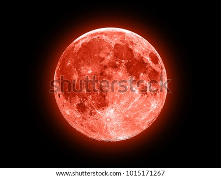 Red Moon isolated on a black  Royalty-Free Stock Photo #1015171267
