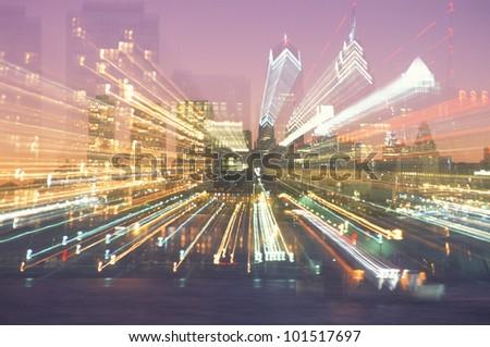 Abstract of a Philadelphia, Pennsylvania skyline at night