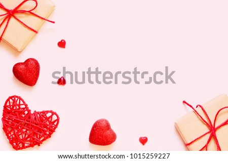 A gift on a pink background with box and hearts. The concept of the St. Valentine's day, weddings, engagements, Mother's Day, birthday, New Year, Christmas and other holidays. Flat lay. #1015259227