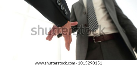Two  business men going to make handshake #1015290151