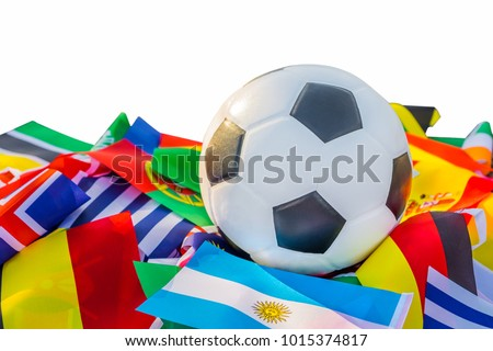 Leather soccer ball with international team flags of the participating countries in the championship tournament isolated on white background. Football equipment competitive game. World cup concept #1015374817