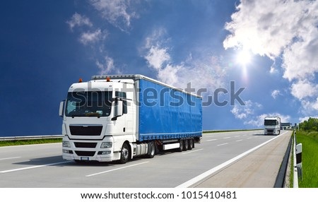 Truck transports goods by road - shipping and logistics (11.06.2013 Berlin/ Berlin/ Germany) #1015410481