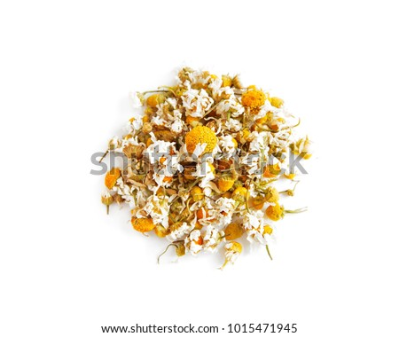 Dried chamomile buttons isolated on white background #1015471945
