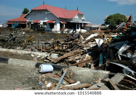 Banda Aceh, Aceh / Indonesia - December 26 2004 : Natural Disaster of Earthquake and Tsunami in Indian Ocean 2004 #1015540888