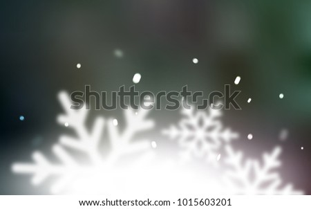 Dark Pink, Green vector texture with colored snowflakes. Snow on blurred abstract background with gradient. The pattern can be used for new year leaflets. #1015603201