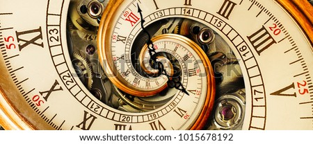 Golden yellow antique old clock spiral abstract fractal. Retro surreal clock with mechanism in the background. Time spiral concept image poster Unusual watch with roman arabic numerals and clock hands #1015678192