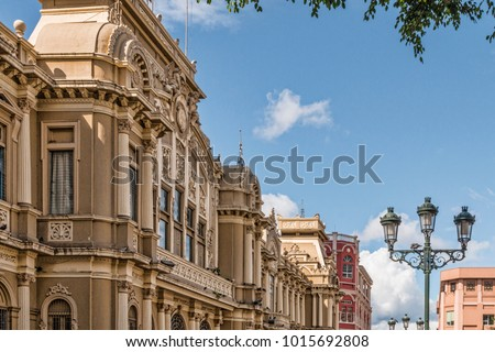 Historic Architecture on Grand Boulevard in Colonial Latin American City. No People. (San Jose, Costa Rica). #1015692808
