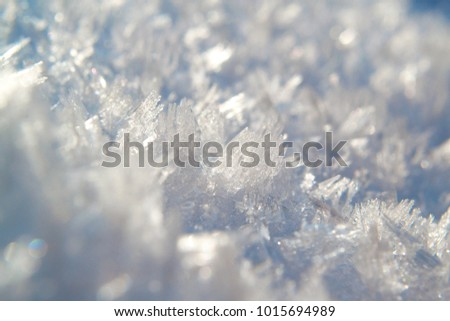 Close up of snow crystals on a bright winter day. The surface of the snow crust. Texture of light and shadows on snow cover. #1015694989