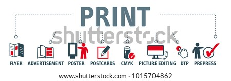 banner printing vector banner design concept with printing icons on white background  Royalty-Free Stock Photo #1015704862
