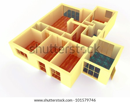 Perspective view of big apartment with walls #101579746