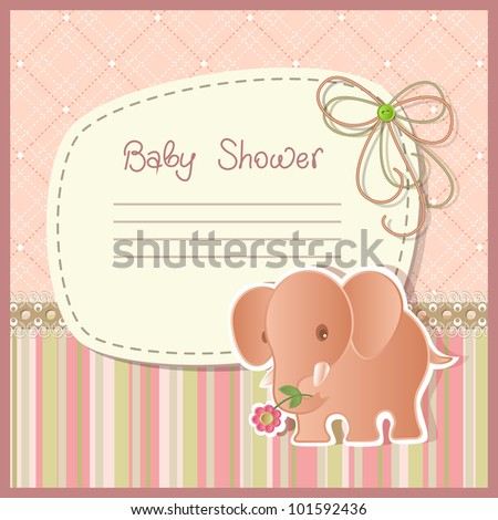 Baby shower with elephant, raster version