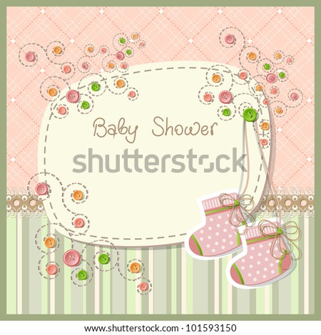 Lovely baby shower with baby socks, raster version