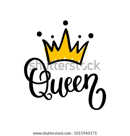 Queen crown vector calligraphy design funny poster