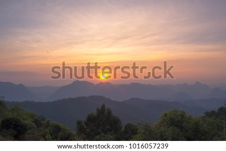 Sunset view from the mountain  #1016057239
