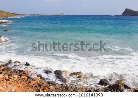 Sea after the storm near to Elounda on Crete, Greece #1016141398