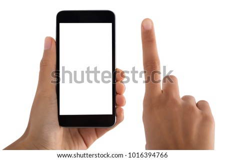 Close-up Of Person's Finger And Mobile Phone On White Background #1016394766