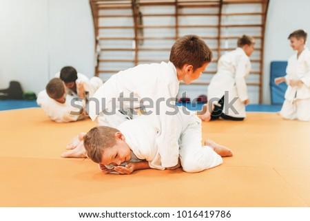Boys in uniform practice martial art Royalty-Free Stock Photo #1016419786