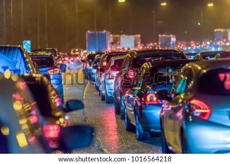 Night view busy UK Motorway traffic jam at night Royalty-Free Stock Photo #1016564218