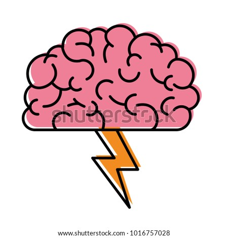 brain in side view with lightning in watercolor silhouette