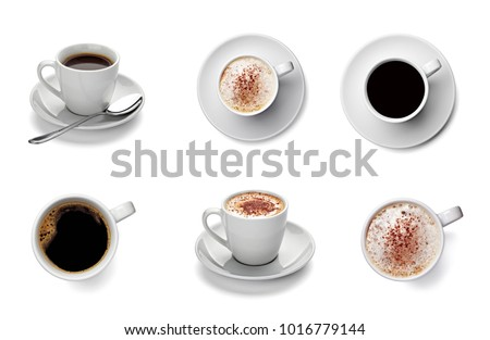 collection of various coffee cup on white background. each one is shot separately #1016779144