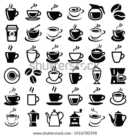 Coffee icon collection - vector outline illustration and silhouette collection #1016780398