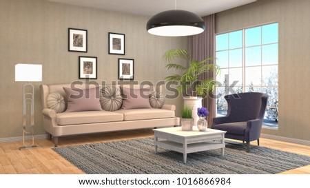 Interior living room. 3d illustration #1016866984