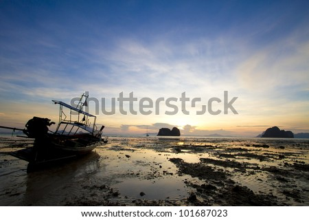 evening, ebb water in the evening at Thailand #101687023