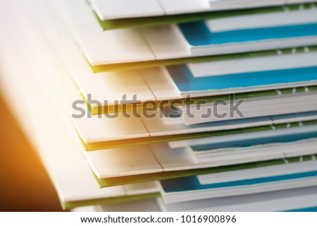 Stack of report paper documents for business desk, Business papers for Annual Reports files, Document is written,presented. Business offices concept, soft focus #1016900896