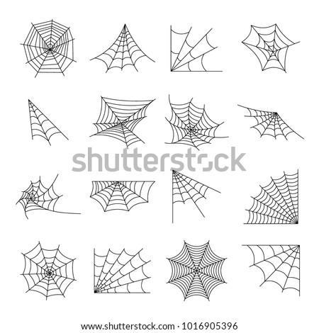 Web spider cobweb icons set. Outline illustration of 16 web spider cobweb vector icons for web #1016905396