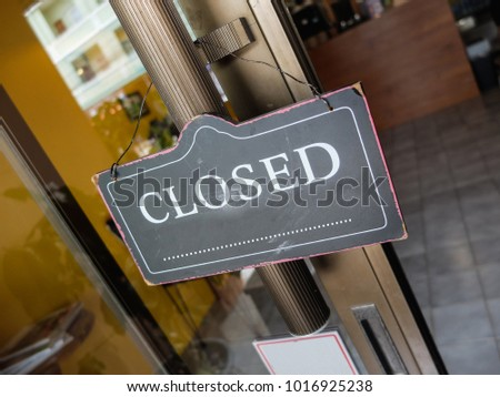 signboard closed banner  #1016925238