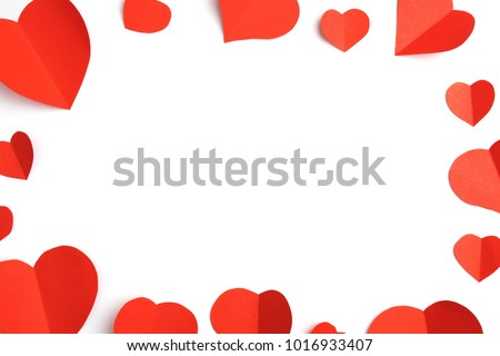 Red paper hearts isolated on white background #1016933407