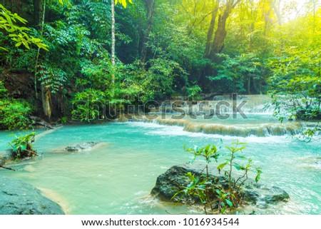 Beautiful Erawan Waterfall, Erawan National Park at Kanchanaburi in Thailand #1016934544