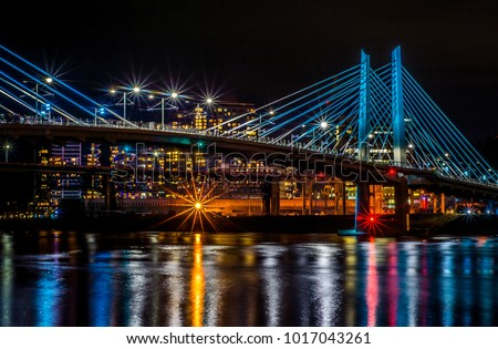 Night scene in the city if Portland, Oregon