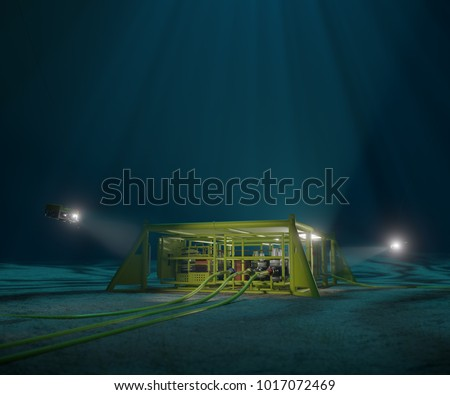 3D rendering of a subsea production manifold being inspected by ROVs #1017072469