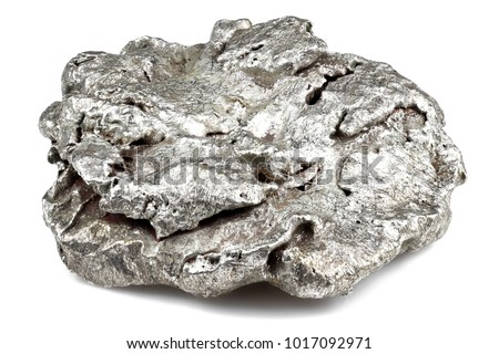 native silver nugget from Liberia isolated on white background Royalty-Free Stock Photo #1017092971