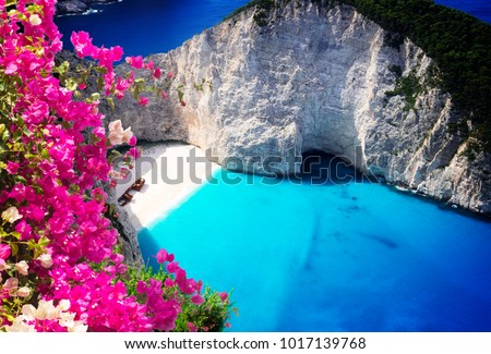 Navagio beach, famous overhead summer lanscape of Zakinthos island, Greece with flowers #1017139768
