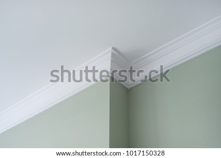Ceiling moldings in the interior, a detail of intricate corner. #1017150328