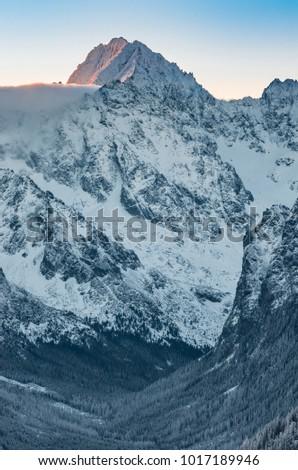 Winter mountain landscape, Gerlach, highest peak of Tatra mounta #1017189946