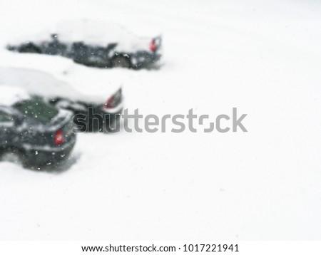 Winter city landscape. Cyclone, heavy blizzard, snow storm. Cars #1017221941