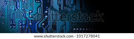 Circuit board. Electronic computer hardware technology. Motherboard digital chip. Tech science background. Integrated communication processor. Information engineering component. Blue, green color. #1017278041
