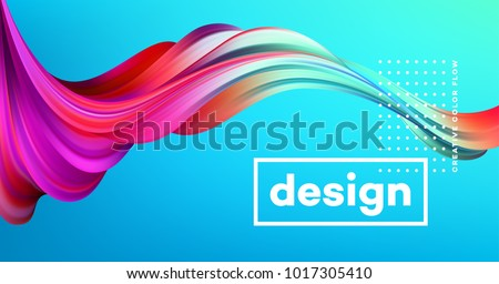 Modern colorful flow poster. Wave Liquid shape in blue color background. Art design for your design project. Vector illustration EPS10 Royalty-Free Stock Photo #1017305410