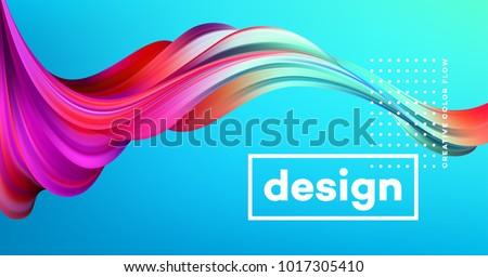 Modern colorful flow poster. Wave Liquid shape in blue color background. Art design for your design project. Vector illustration EPS10 #1017305410