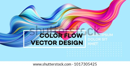 Modern colorful flow poster. Wave Liquid shape in blue color background. Art design for your design project. Vector illustration EPS10 Royalty-Free Stock Photo #1017305425