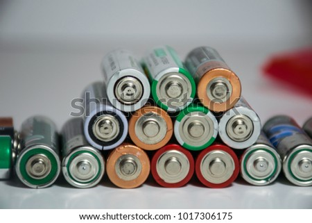 Stack of batteries powering the future of renewable energy and energy density of electrical storage technology #1017306175