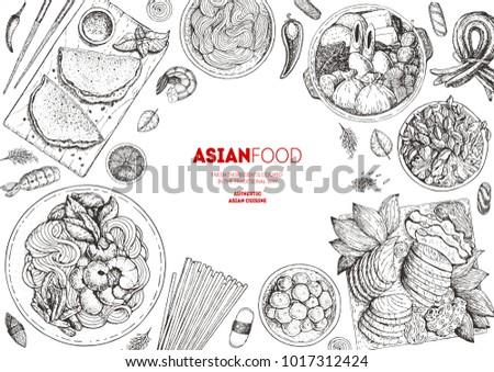 Japanese Food menu design template, engraved elements. Asian cuisine sketch collection. Hand drawn vector illustration.  Asian Food set.