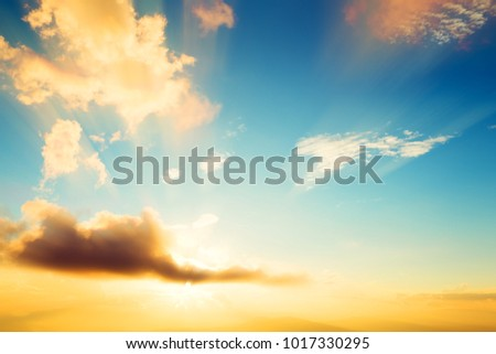 Vintage photo of abstract nature background with sky in sunset #1017330295