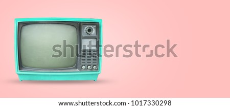 Retro television - old vintage tv on pastel color background. retro technology. flat lay, top view hero header. vintage color styles.  #1017330298