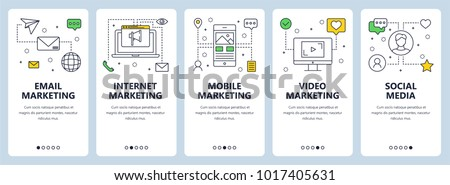 Vector set of onboarding screens for mobile apps. Vertical banners with email, internet, mobile and video marketing, social media concept website templates. Thin line flat design icons for web menu. Royalty-Free Stock Photo #1017405631