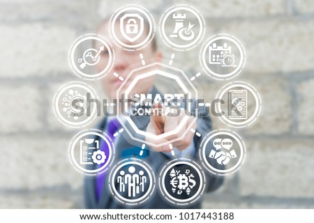 Businessman presses virtual button smart contract text on a touchscreen. Smart Contract Business Information Technology. Digital Agreement. #1017443188