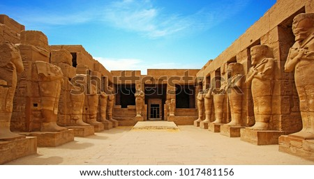 Ancient ruins of Karnak temple in Luxor. Egypt Royalty-Free Stock Photo #1017481156